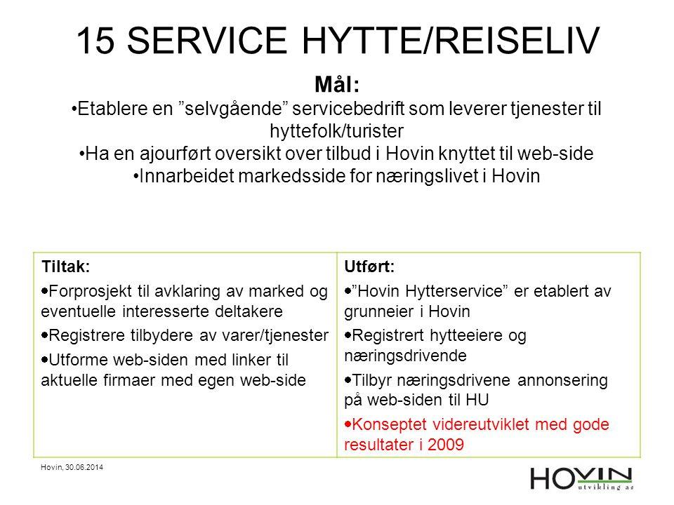 15 SERVICE HYTTE/REISELIV