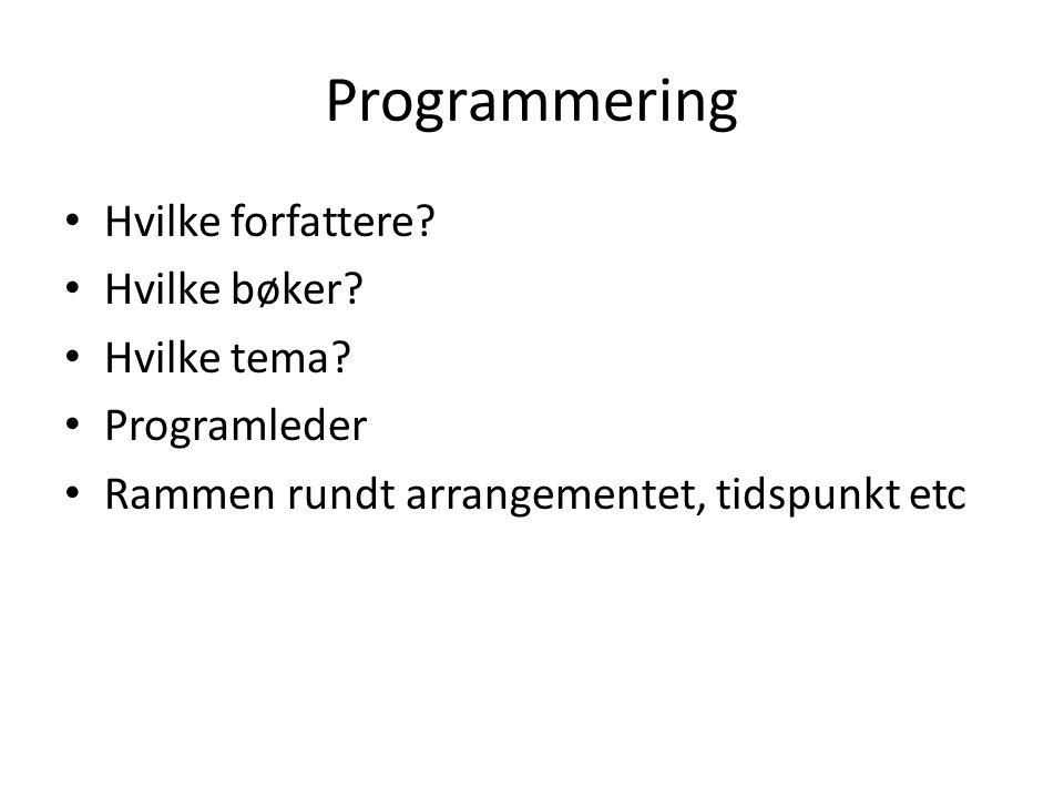 Programmering Hvilke forfattere Hvilke bøker Hvilke tema