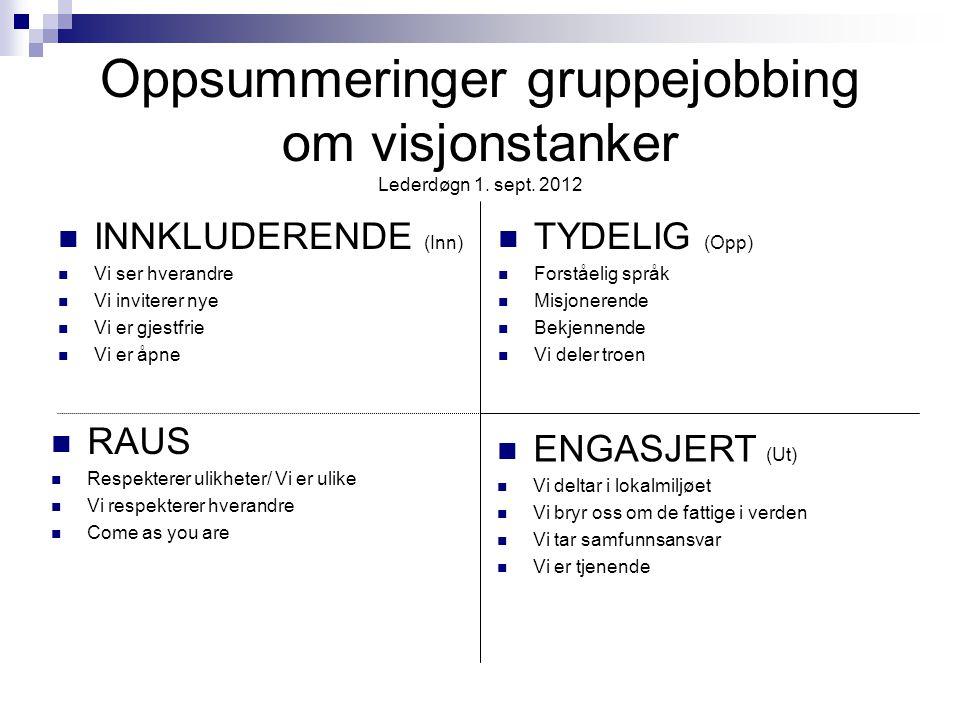 Oppsummeringer gruppejobbing om visjonstanker Lederdøgn 1. sept. 2012