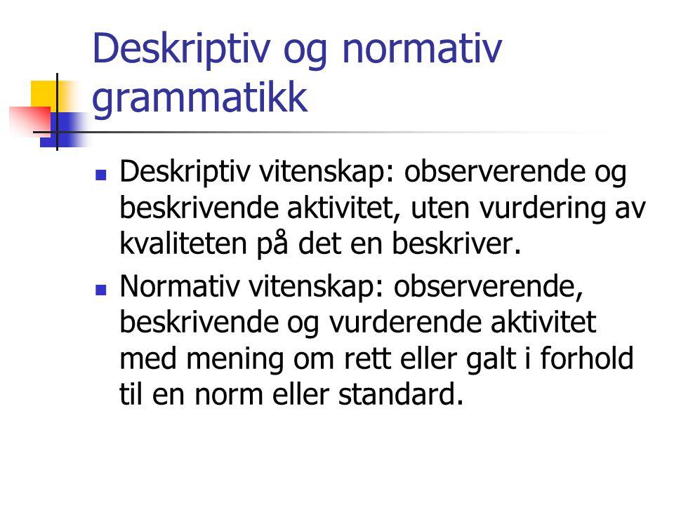 Deskriptiv og normativ grammatikk