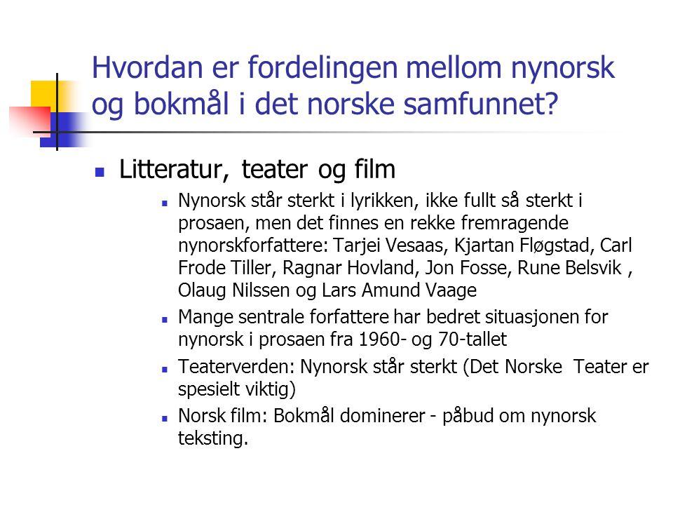Hvordan er fordelingen mellom nynorsk og bokmål i det norske samfunnet