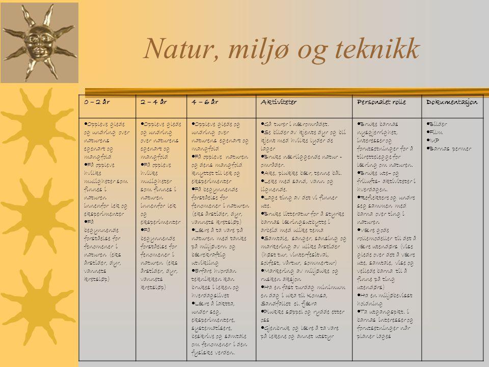 Natur, miljø og teknikk 0 – 2 år 2 – 4 år 4 – 6 år Aktiviteter