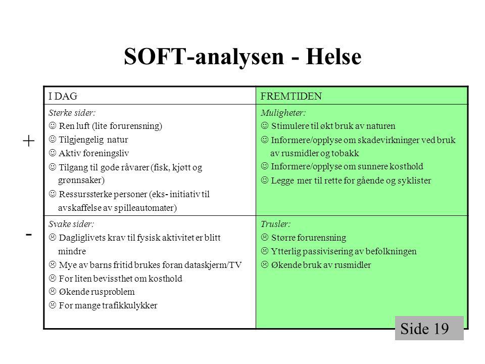 + - Side 19 SOFT-analysen - Helse I DAG FREMTIDEN Sterke sider: