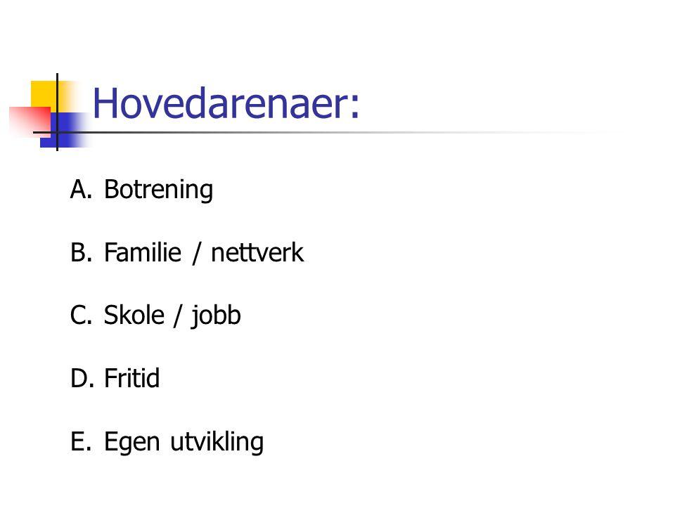 Hovedarenaer: Botrening Familie / nettverk Skole / jobb Fritid