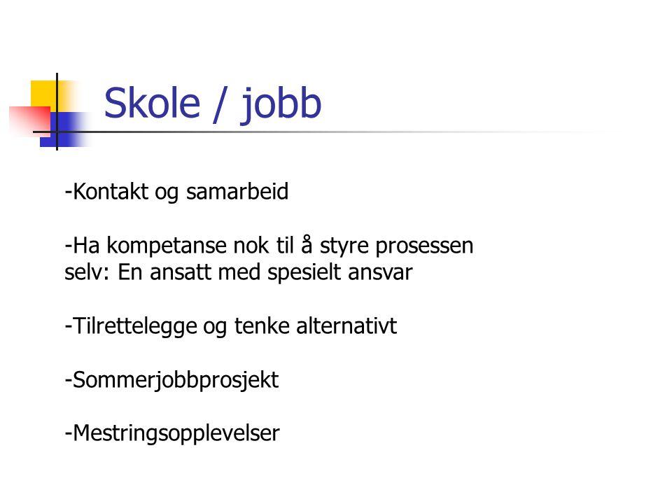 Skole / jobb Kontakt og samarbeid
