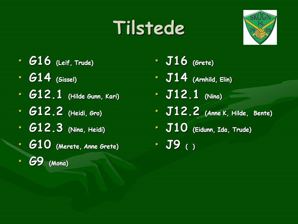 Tilstede G16 (Leif, Trude) G14 (Sissel) G12.1 (Hilde Gunn, Kari)