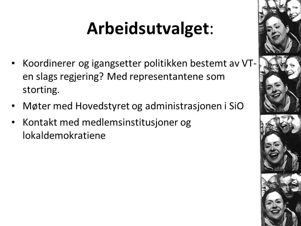 Arbeidsutvalget: Koordinerer og igangsetter politikken bestemt av VT- en slags regjering Med representantene som storting.