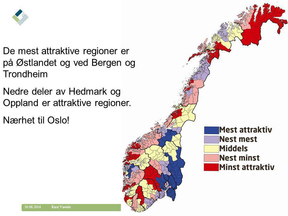 De mest attraktive regioner er på Østlandet og ved Bergen og Trondheim