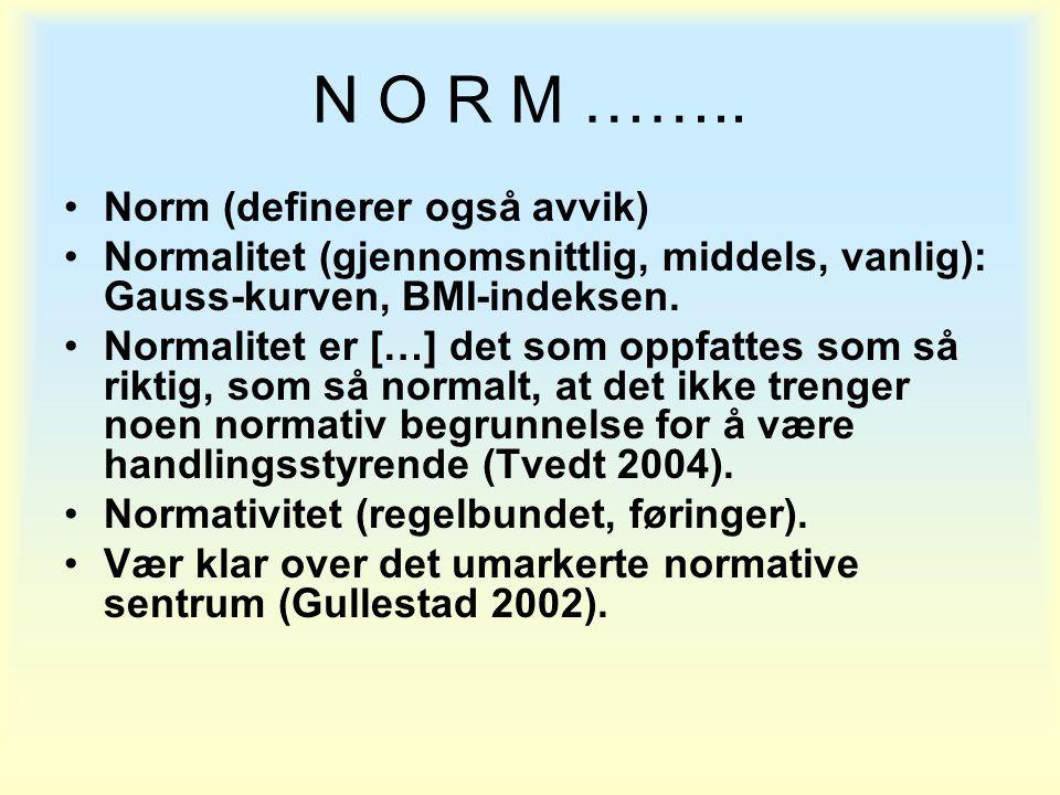 N O R M …….. Norm (definerer også avvik)