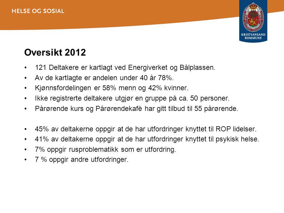 Oversikt 2012 121 Deltakere er kartlagt ved Energiverket og Bålplassen. Av de kartlagte er andelen under 40 år 78%.