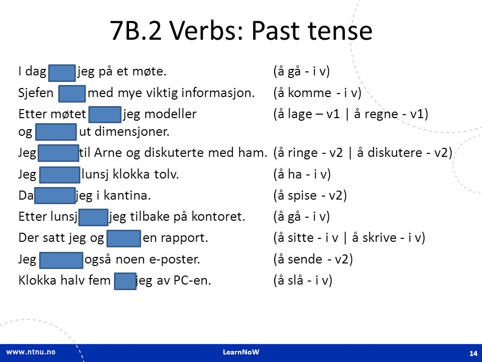 7B.2 Verbs: Past tense