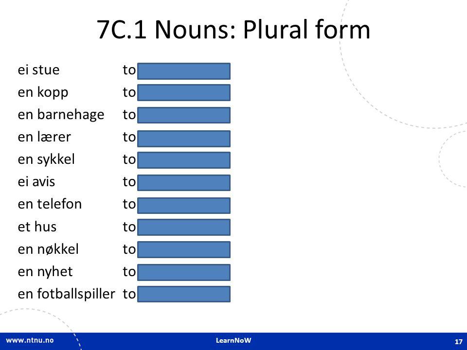 7C.1 Nouns: Plural form