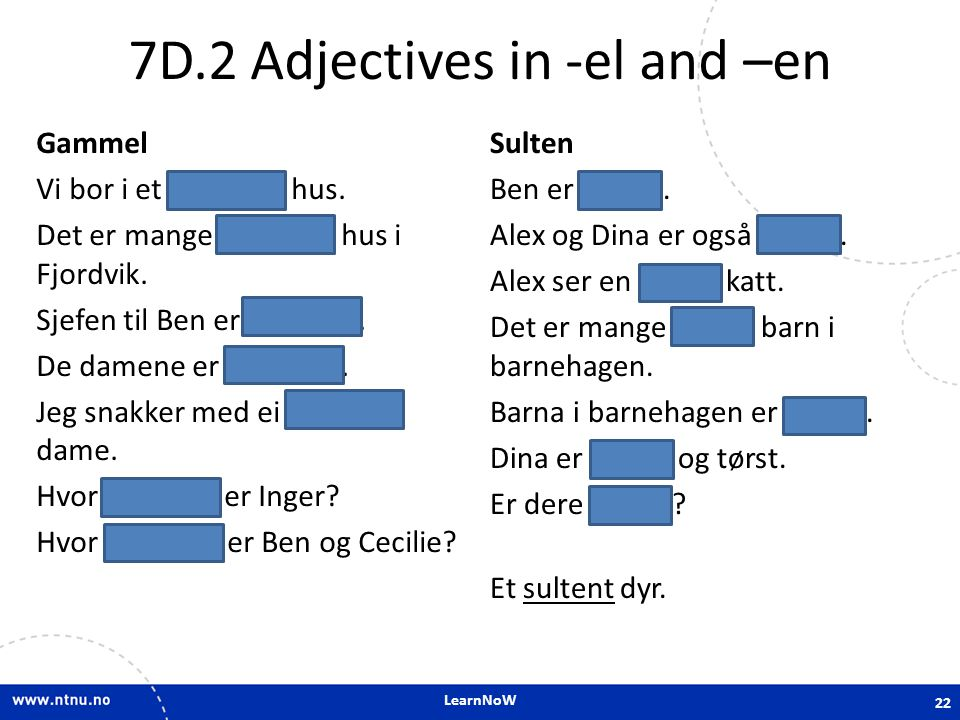 7D.2 Adjectives in -el and –en