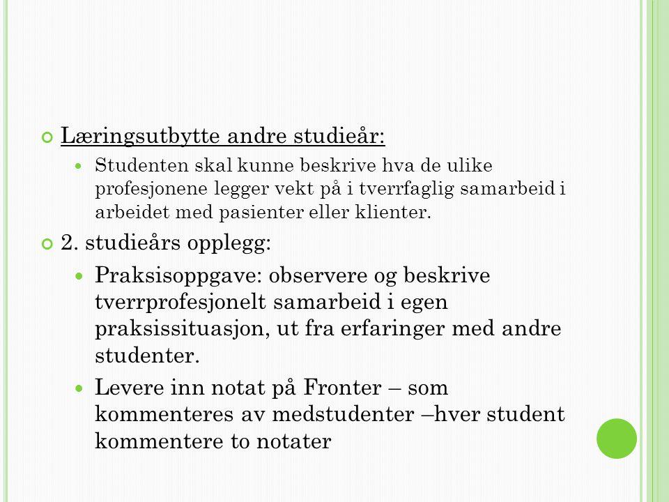 Læringsutbytte andre studieår: