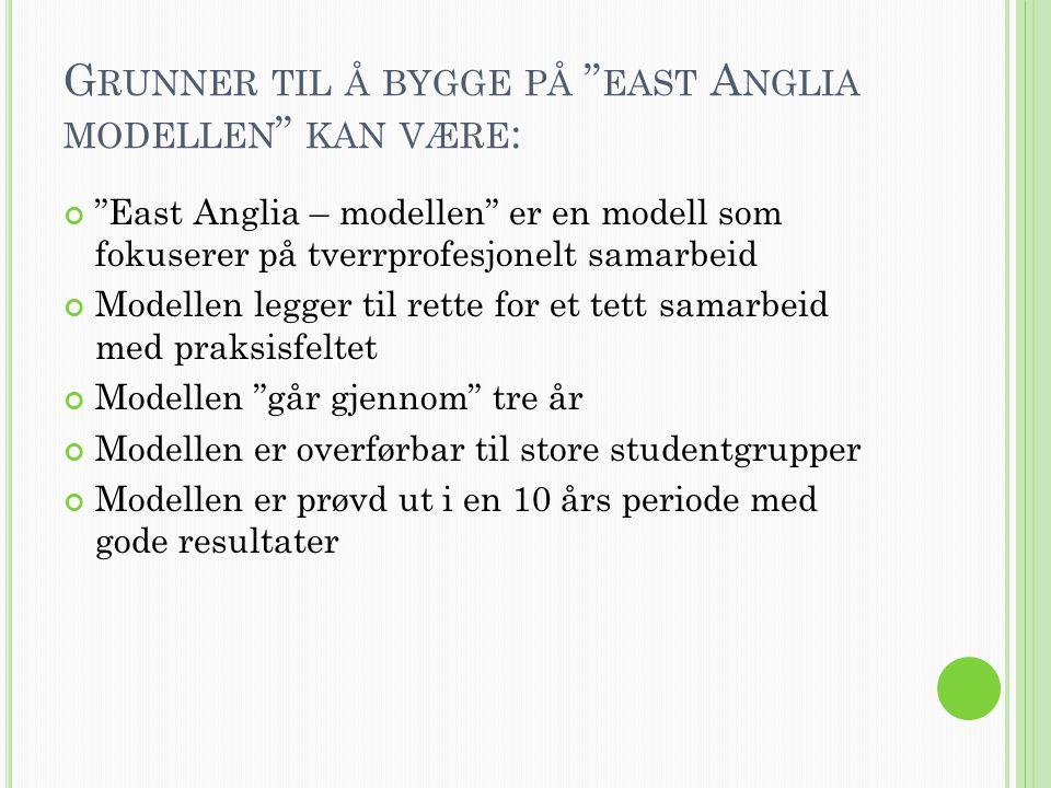 Grunner til å bygge på east Anglia modellen kan være: