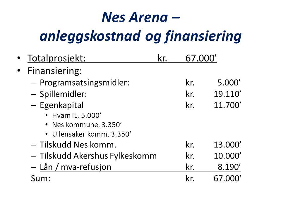 Nes Arena – anleggskostnad og finansiering