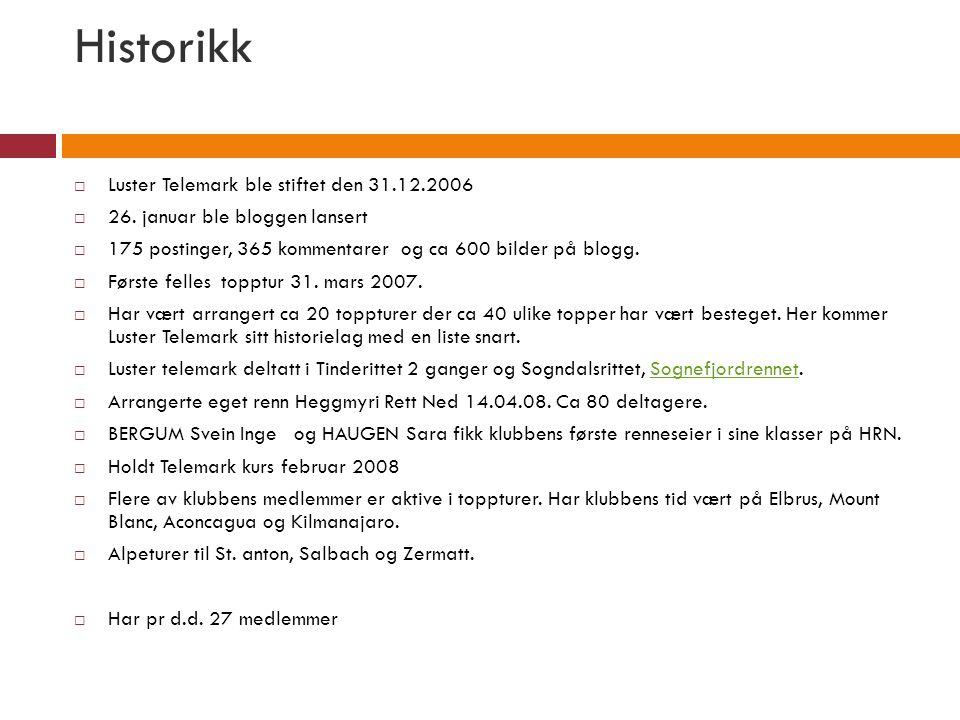 Historikk Luster Telemark ble stiftet den 31.12.2006