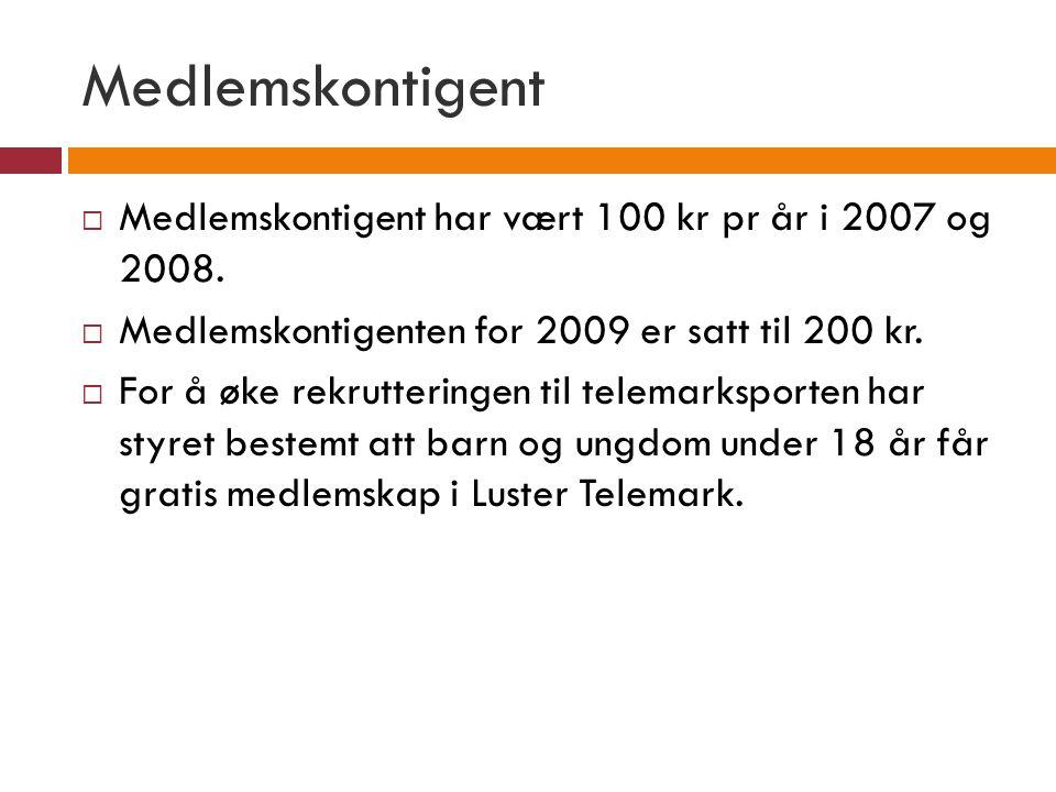 Medlemskontigent Medlemskontigent har vært 100 kr pr år i 2007 og 2008. Medlemskontigenten for 2009 er satt til 200 kr.