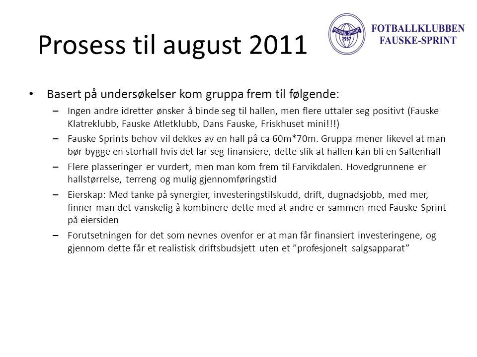 Prosess til august 2011 Basert på undersøkelser kom gruppa frem til følgende:
