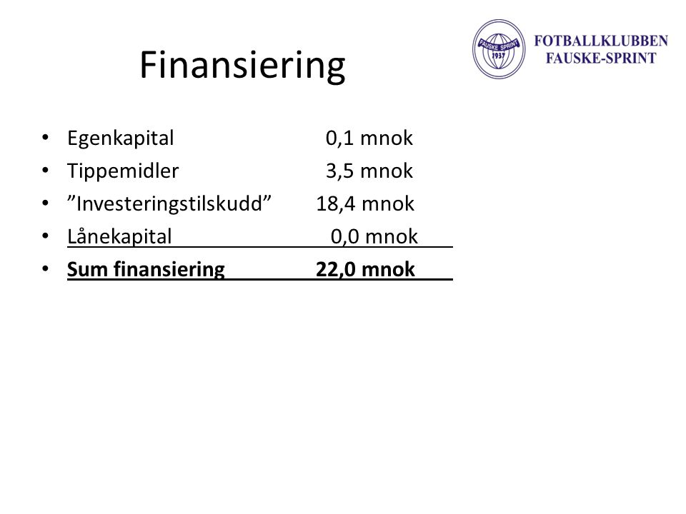 Finansiering Egenkapital 0,1 mnok Tippemidler 3,5 mnok