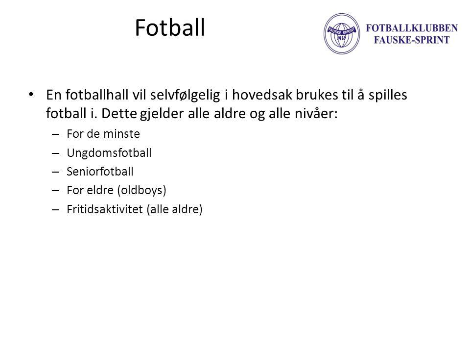 Fotball En fotballhall vil selvfølgelig i hovedsak brukes til å spilles fotball i. Dette gjelder alle aldre og alle nivåer: