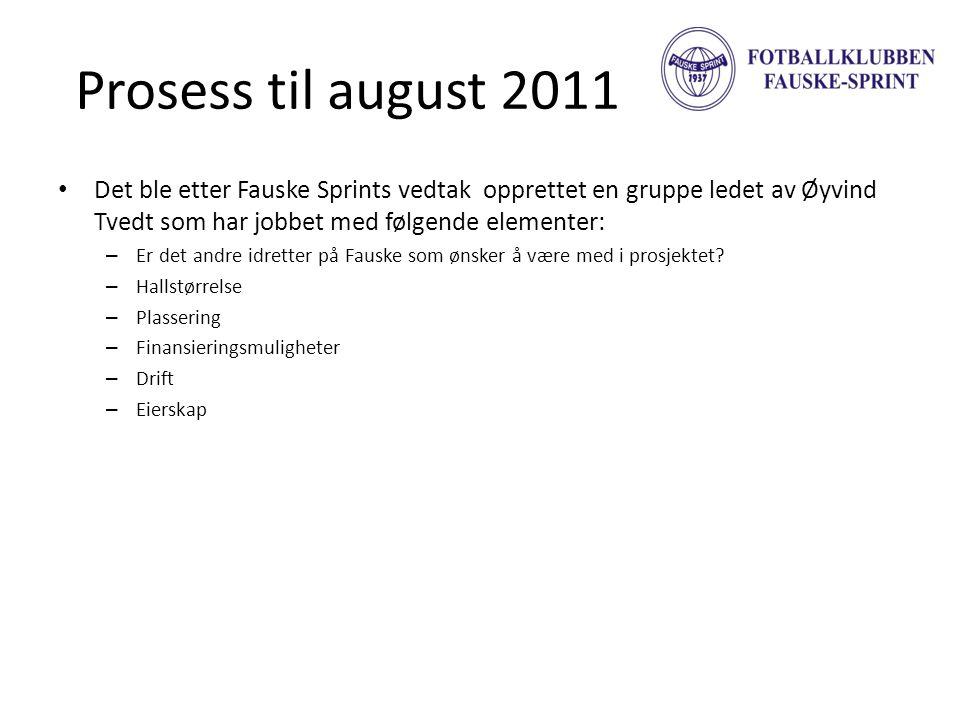 Prosess til august 2011 Det ble etter Fauske Sprints vedtak opprettet en gruppe ledet av Øyvind Tvedt som har jobbet med følgende elementer: