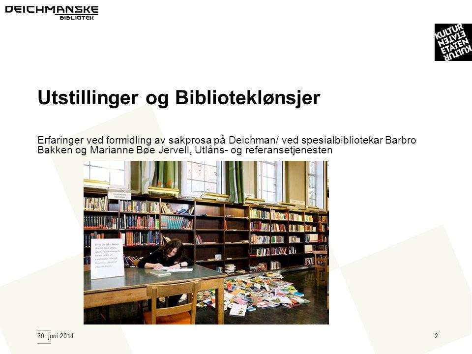 Utstillinger og Biblioteklønsjer