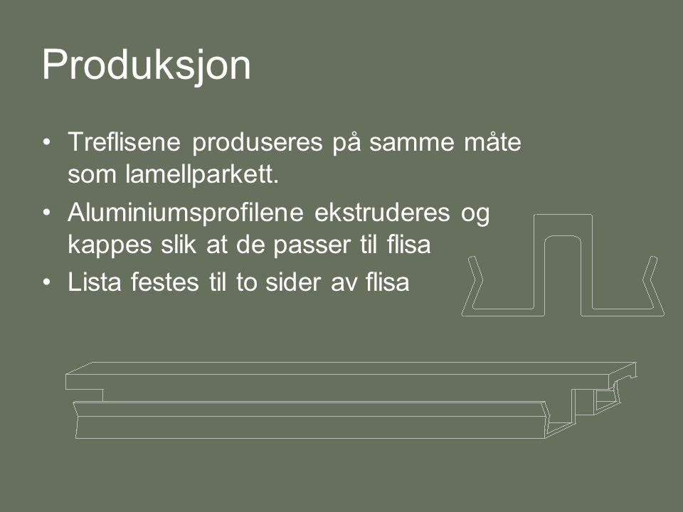 Produksjon Treflisene produseres på samme måte som lamellparkett.