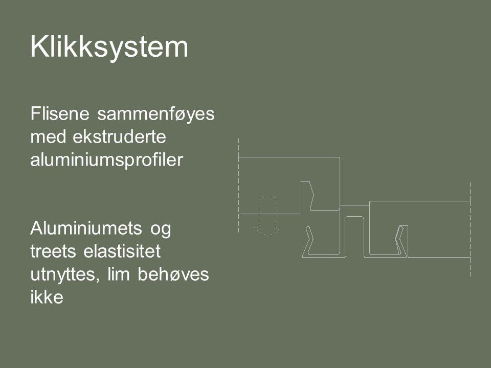 Klikksystem Flisene sammenføyes med ekstruderte aluminiumsprofiler