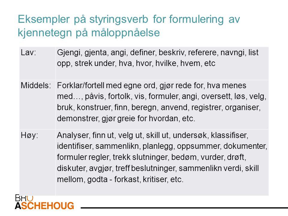 Eksempler på styringsverb for formulering av kjennetegn på måloppnåelse