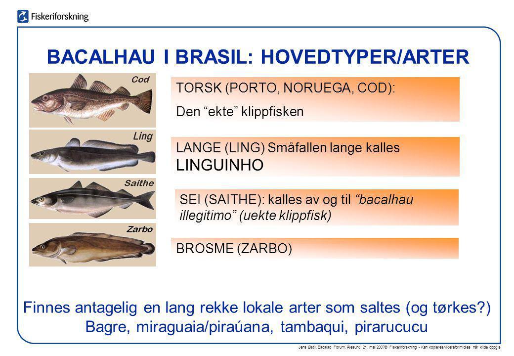 BACALHAU I BRASIL: HOVEDTYPER/ARTER