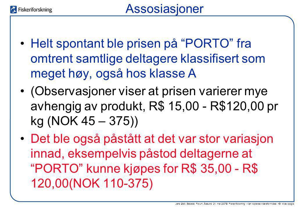 Assosiasjoner Helt spontant ble prisen på PORTO fra omtrent samtlige deltagere klassifisert som meget høy, også hos klasse A.