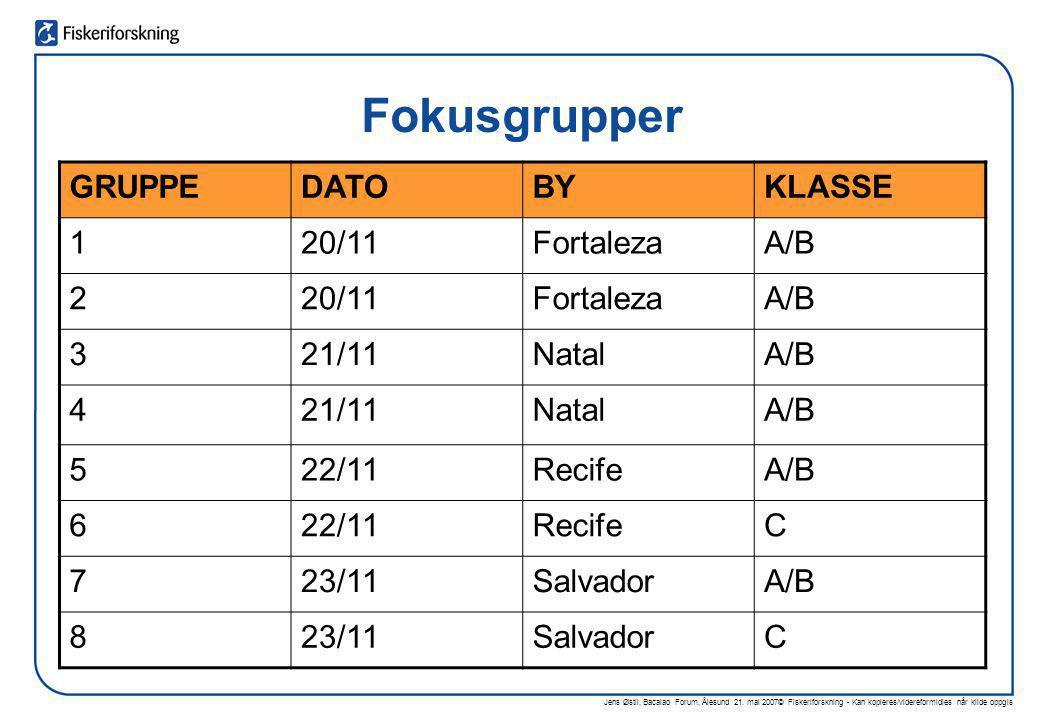 Fokusgrupper GRUPPE DATO BY KLASSE 1 20/11 Fortaleza A/B 2 3 21/11