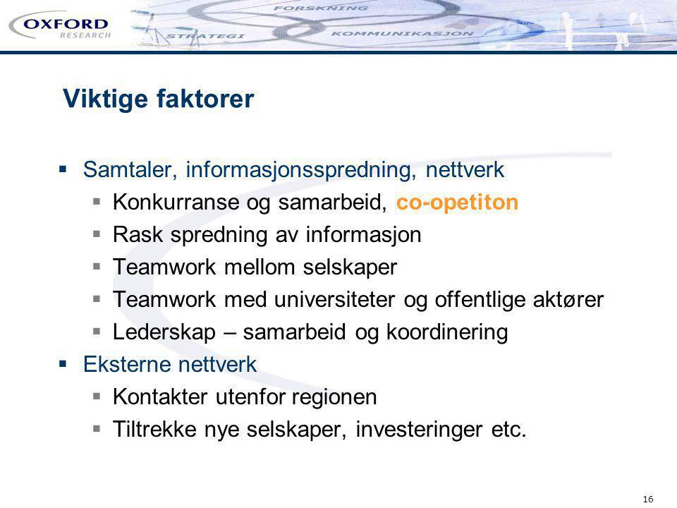 Viktige faktorer Samtaler, informasjonsspredning, nettverk