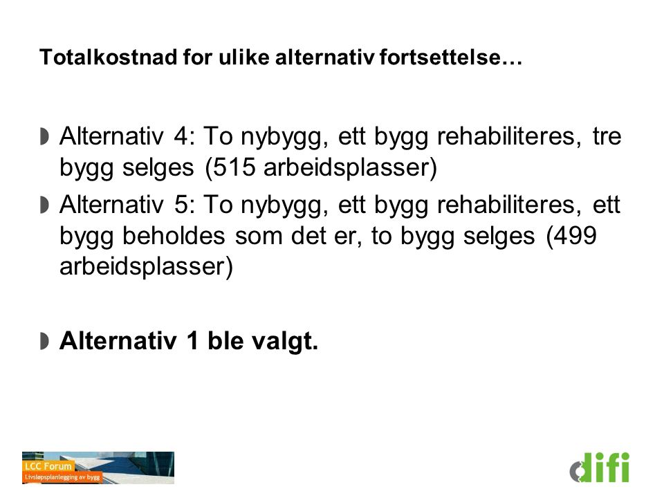 Totalkostnad for ulike alternativ fortsettelse…