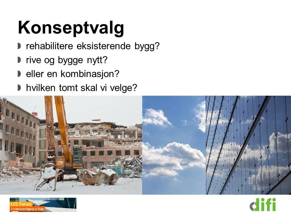 Konseptvalg rehabilitere eksisterende bygg rive og bygge nytt
