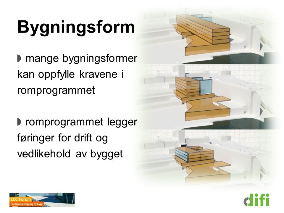 Bygningsform mange bygningsformer kan oppfylle kravene i romprogrammet