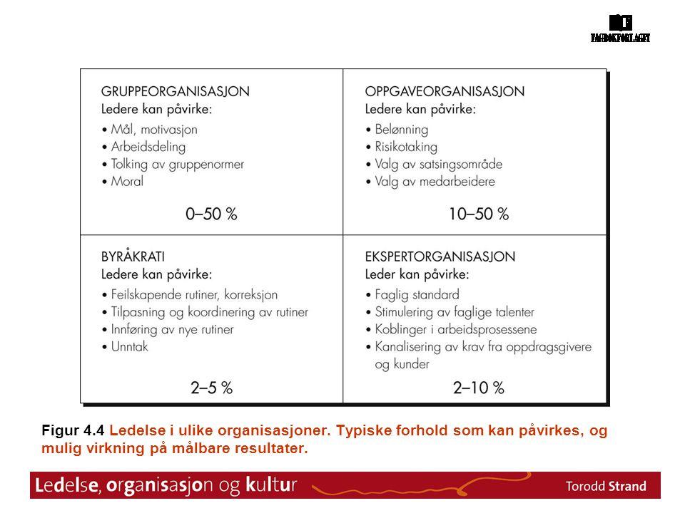 Figur 4. 4 Ledelse i ulike organisasjoner
