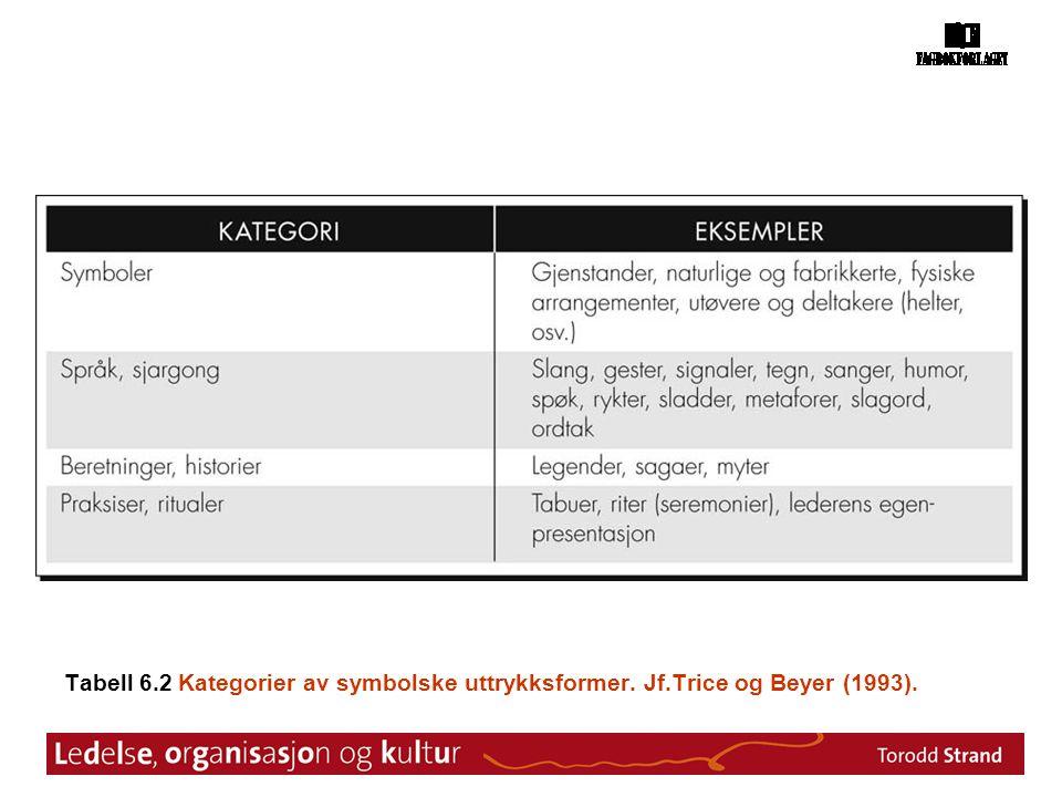 Tabell 6. 2 Kategorier av symbolske uttrykksformer. Jf