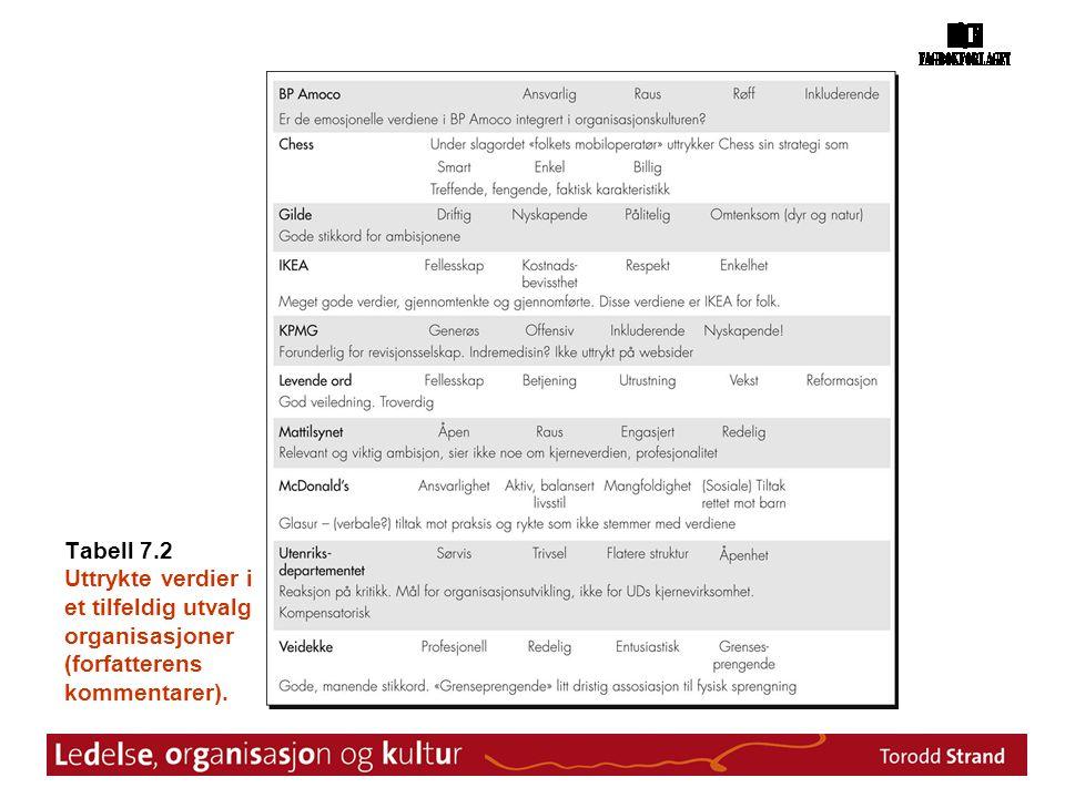 Tabell 7.2 Uttrykte verdier i et tilfeldig utvalg organisasjoner (forfatterens kommentarer).