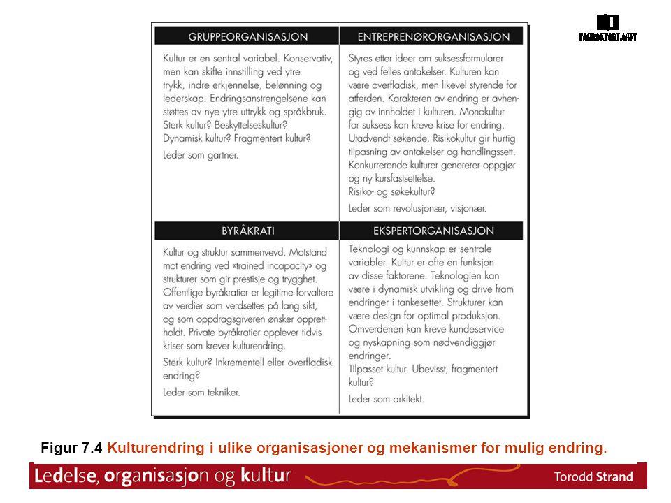 Figur 7.4 Kulturendring i ulike organisasjoner og mekanismer for mulig endring.