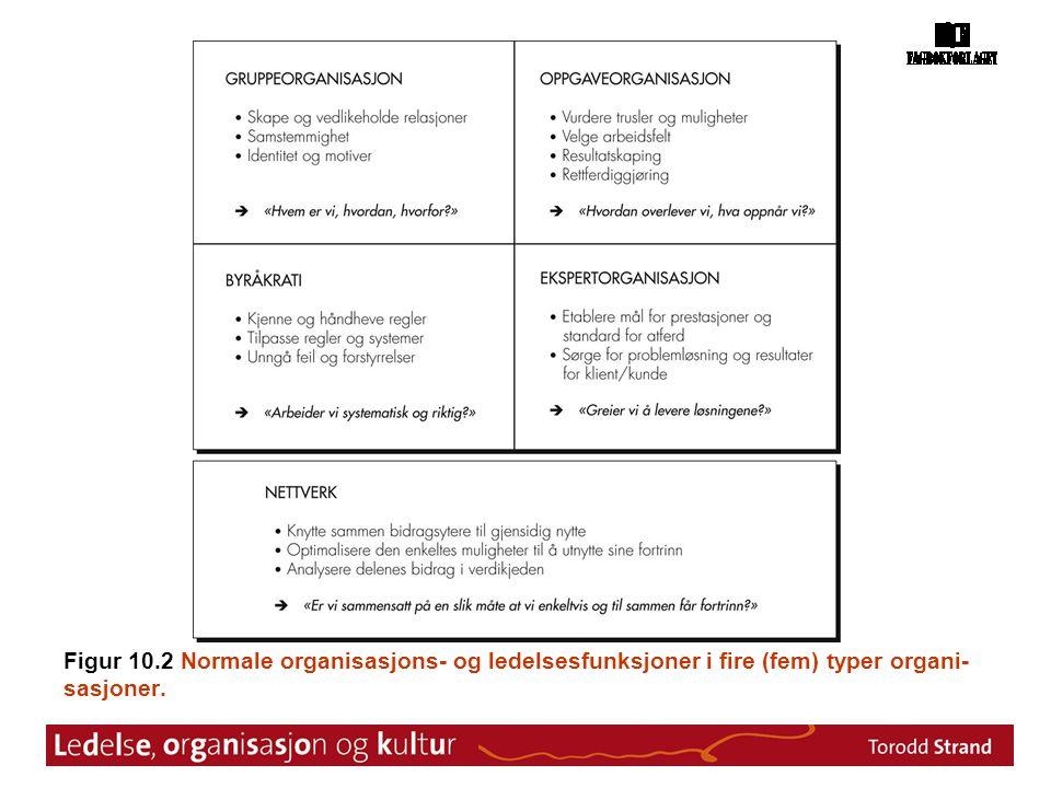 Figur 10.2 Normale organisasjons- og ledelsesfunksjoner i fire (fem) typer organi-sasjoner.