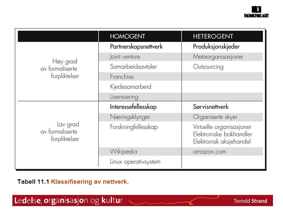 Tabell 11.1 Klassifisering av nettverk.