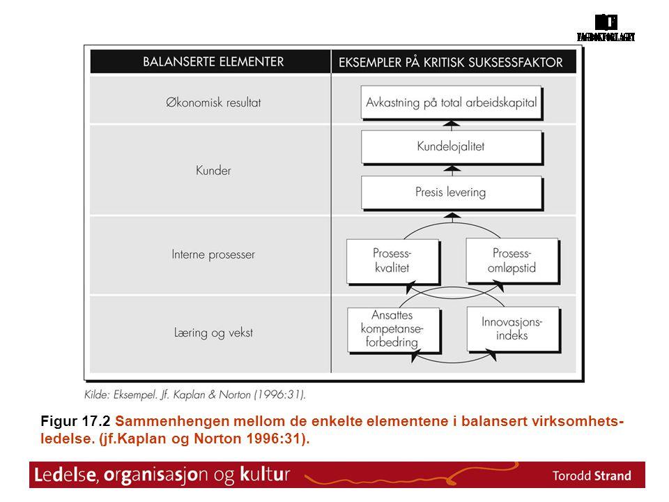Figur 17.2 Sammenhengen mellom de enkelte elementene i balansert virksomhets-ledelse.
