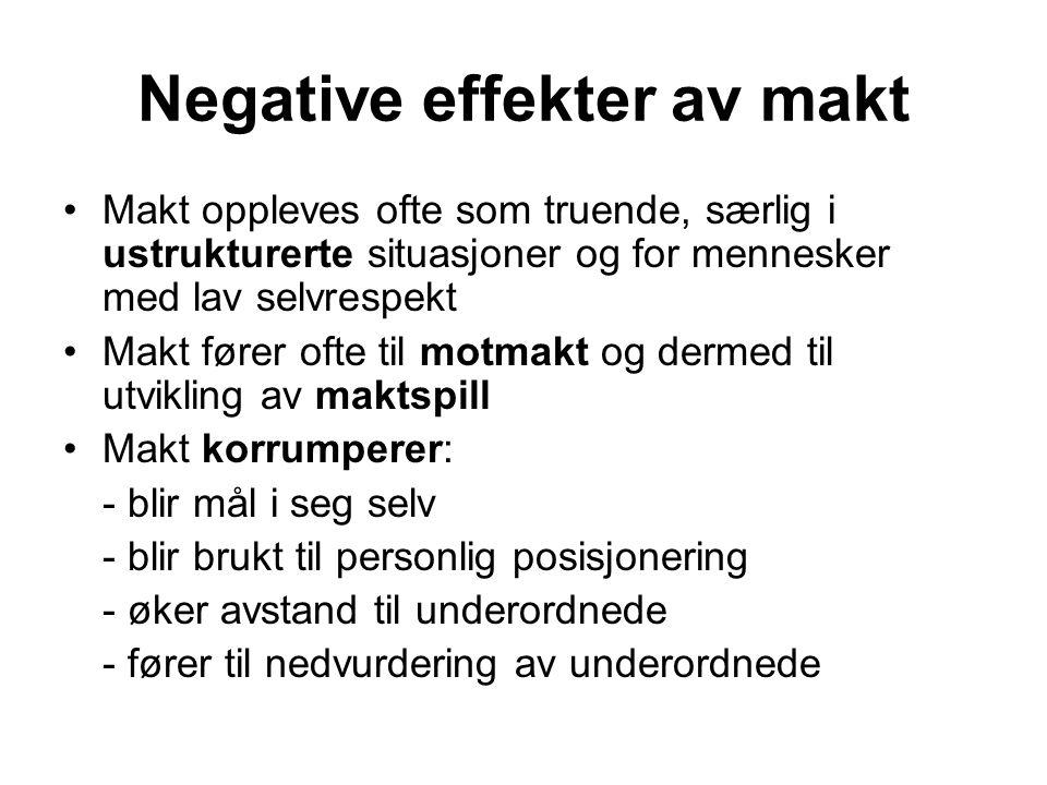 Negative effekter av makt