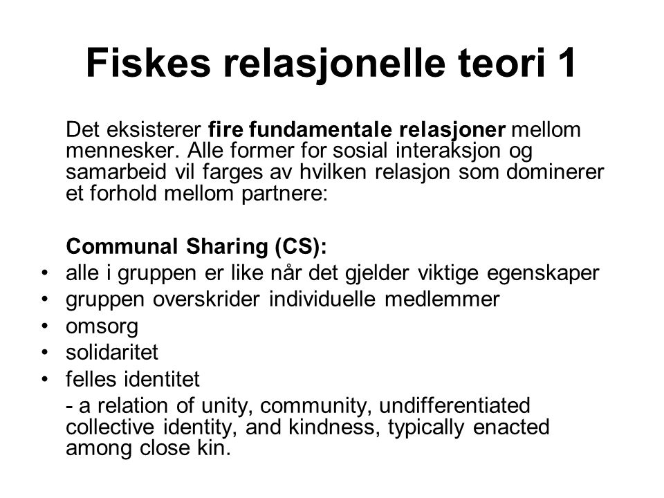 Fiskes relasjonelle teori 1