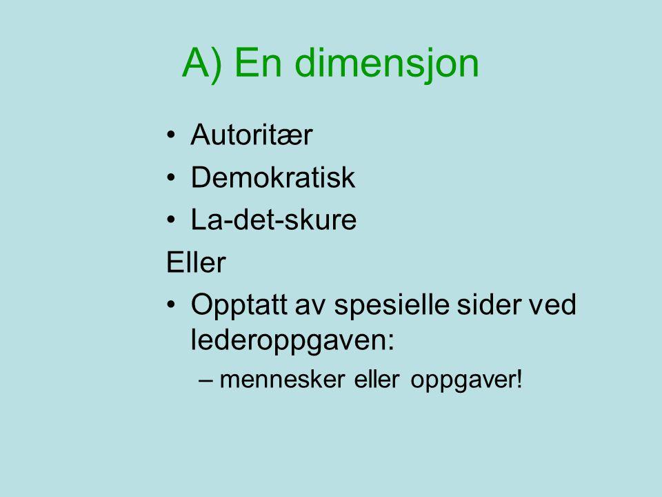 A) En dimensjon Autoritær Demokratisk La-det-skure Eller