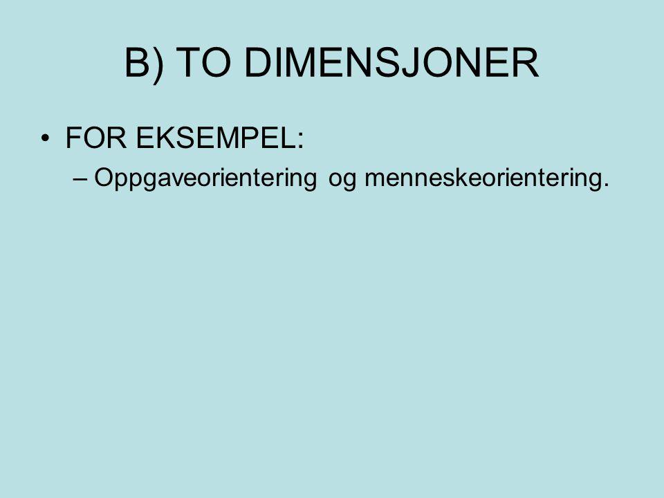 B) TO DIMENSJONER FOR EKSEMPEL:
