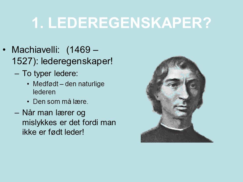 1. LEDEREGENSKAPER Machiavelli: (1469 – 1527): lederegenskaper!