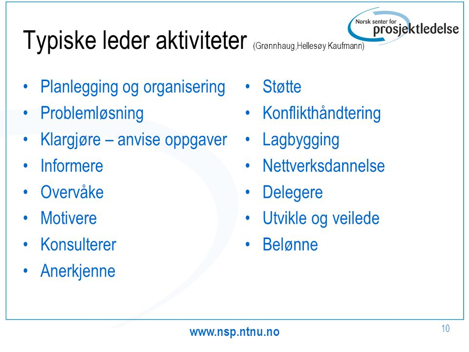 Typiske leder aktiviteter (Grønnhaug,Hellesøy Kaufmann)
